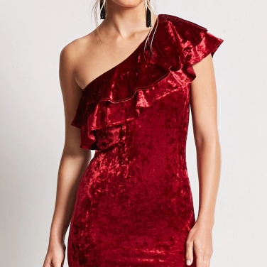 Crushed Velvet One-Shoulder Dress Red Model – MsSoniaSandhu Blog