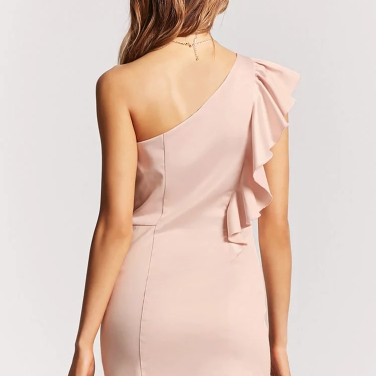 Satin Ruffle One-Shoulder Dress in Blush – MsSoniaSandhu Blog