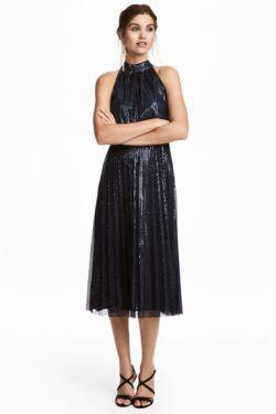 Sequined Halterneck Dress Navy Blue Model – MsSoniaSandhu Blog